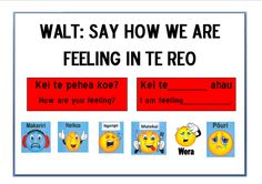 kei te pehea koe School Resources, Teaching Resources, Maori Songs, Teaching Displays, Maori Designs, Action Words, Teaching Aids, Feelings And Emotions, Toddler Activities