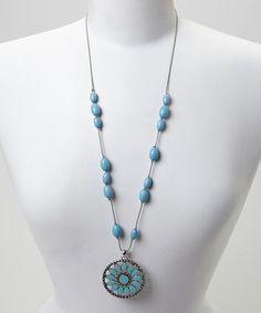 Look what I found on #zulily! Turquoise & Silver Flowerburst Pendant Necklace #zulilyfinds