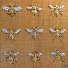 Hand embroidered goldwork bees on antique gold silk dupion in a white box frame embroidery stitches by hand tutorial Hand Embroidery Stitches, Hand Embroidery Designs, Embroidery Techniques, Embroidery Art, Cross Stitch Embroidery, Bee Art, Gold Work, White Box, Antiques