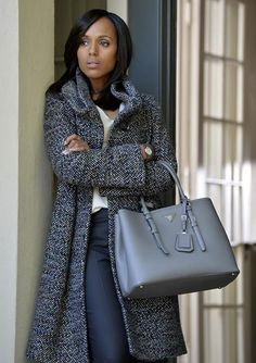 Scandal Fashion Credits: All the Details on What the Stars Wore - SEASON 4, EPISODE 3: ARMANI TWEED COAT, PRADA HANDBAG, MAX MARA PANTS from #InStyle