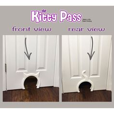 Features: -The kitty pass is the safest and cutest way to let your cat in and out, of closed doors. -Allows you to hide your kitty's litter box and or food dish from other animals in your home. -Yo