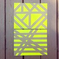 Neon masking tape art. #diy #maskingtape #neon #paint #art #brownpaper #pattern #texture #spraypaint