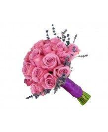 Aranjamente nunta si botez Buchet mireasa trandafiri mov si lavanda