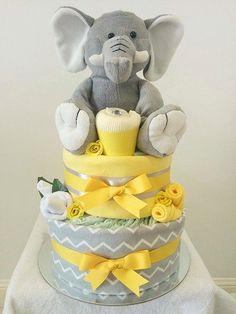 Yellow and Grey Elephant Nappy Cake, Chevrons, Neutral Nappy Cake, Diaper Cake