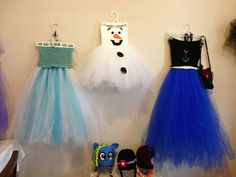 Tutu dresses Elsa, Ana and Olaf Top bodice is crochet Tutu Dresses, Custom Hats, Elsa, Bodice, Halloween Costumes, Frozen, Tulle, Inspired