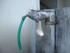 Soap in a mesh bag, tied to the the faucet next to the garden hose. Easier to keep hands clean after garden work.