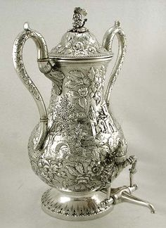 S Kirk & Son coin silver 'Castle' pattern tea urn, Baltimore ~ 1850