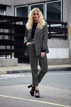 Beetlejuice-inspired black and white stripes   #fashion #style #streetstyle
