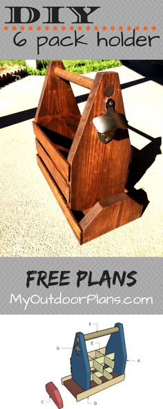 Free plans for building a 6 pack beer holder with opener and cap catcher. Full plans at MyOutdoorPlans.com #diy #beer