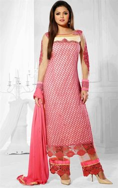 Picture of Luscious Pink and Off White Color Palazo Kameez