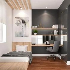 Cool Modern And Minimalist Bedroom Design Ideas - Home Design Best Home Design Small Bedroom Designs, Small Room Bedroom, Bedroom Colors, Bedroom Decor, Master Bedroom, Gray Bedroom, Master Suite, Bedroom Furniture, Bedroom With Office