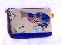 Trousse pochette tissu chat bleu : Trousses par toucan