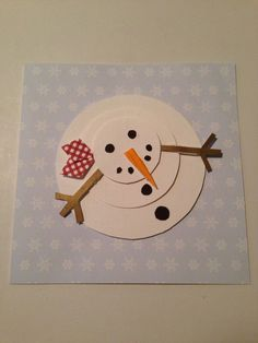 Christmas card with snowman - Diy Ornament Christmas Crafts For Toddlers, Childrens Christmas, Christmas Activities, Holiday Crafts, Diy Snowman Decorations, Snowman Crafts, Christmas Decorations, Natal Diy, Navidad Diy