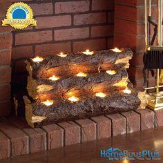 Resin Tealight Fireplace Log.  $79.99