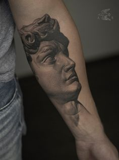 DAVID's head tattoo design on forearm by Cool Chest Tattoos, Girl Arm Tattoos, Dream Tattoos, Body Art Tattoos, Angel Tattoo Designs, Tattoo Sleeve Designs, Sleeve Tattoos, Apollo Tattoo, David Tattoo