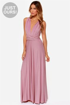 LULUS Exclusive Tricks of the Trade Mauve  Convertible dress, many colors and ways of making the top.