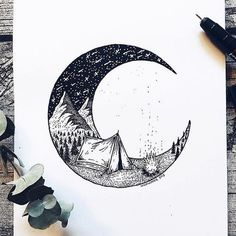 Artist Draws Millions of Tiny Dots to Calmly Ease Her Anxiety And The Results Are Amazing – Swedish illustrator Josefine Svärd creates fantastical stippling art… Art Drawings Sketches, Cool Drawings, Moon Sketches, Dotted Drawings, Drawing Designs, Art Drawings Beautiful, Detailed Drawings, Beautiful Images, Doodle Art