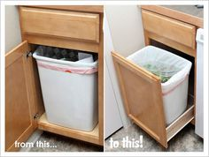 Our Modern Homestead: DIY Pull-out Trash Drawer (note to self. Add elastic to prevent sliding about) Diy Kitchen Decor, Kitchen Redo, Kitchen Furniture, New Kitchen, Diy Furniture, Kitchen Remodel, Diy Home Decor, Kitchen Design, Armoires Diy