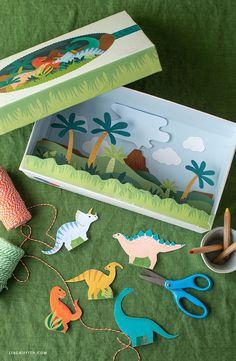 Kid's Craft Camp: Free Dinosaur Diorama - Lia Griffith Dinosaur Crafts Kids, Dino Craft, Dinosaur Projects, Preschool Art Projects, Preschool Crafts, Crafts For Kids, Art Kits For Kids, Dinosaur Diorama, Kids Pop