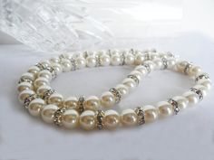 White Pearl Jewelry Set / White Pearl Necklace by KATcustomDESIGNS
