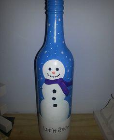 """Hand painted bottle Cristmas """"Let it snow"""" Snowman"""