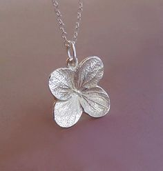 Hydrangea Flower Necklace Sterling Silver by esdesigns