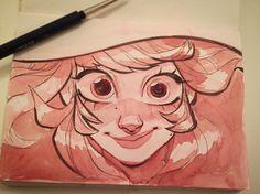"1,406 curtidas, 7 comentários - Stine Sæthre (@stinesaethre) no Instagram: ""Another watercolour sketch #sketchbook #artistoninstagram #girl #witch #colerase #ink"""