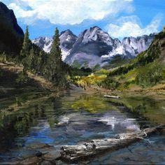 Maroon Lake , Colorado Original Acrylic painting 9x12 Framed $350