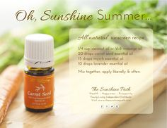 All natural recipe using Young Living Essential Oils. Carrot seed essential oil has an SPF of