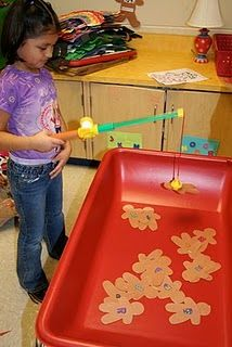 """They had to """"catch"""" gingerbread men here and find the matching letter and dot it with a bingo dotter. For fellow teachers who may be reading this...after paper-clipping all of those ginger people last year and the clips falling off after every """"catch"""", I had the idea of just stapling a staple in each one. It worked just as well and so much easier than paper clips."""