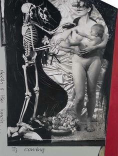 Joel-Peter Witkin, The Paris Triad: Death is like lunch... it's coming, 2011, Black and white silver print, coloured, Courtesy Baudoin Lebon