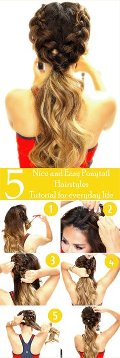 Looking for some nice and easy ponytail hairstyles idea? We are here with five nice and easy ponytail hairstyles. Ponytails are casual but if designed properly, it can be trendy as other fancy hairstyles. Though in this article dedicated to nice and easy ponytail hairstyles for everyday life. If you are interested in the ponytail, Find more; ponytail hairstyles easy, ponytail hairstyles for long hair, ponytail hairstyles for medium hair. #WomenHairstylesPonytail