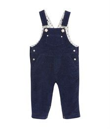 Unisex baby long dungarees in plain stretch corduroy Abysse blue. See our range of clothing and underwear for babies, children, women and men.