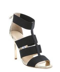 Jimmy Chooblack and gold elastic strappy 'Dario' lace-up detail sandals