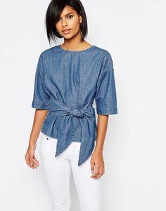 Image 1 of Vero Moda Denim Kimono Sleeve Top Denim Fashion, Trendy Fashion, Fashion Outfits, Mode Top, Denim Ideas, Denim Shirt, Denim Top Outfit, Chambray Top, Look Chic