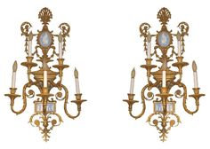 Pair Antique Louis XVI Style Gilt Bronze Jasperware Porcelain Sconces FOR SALE • $17,000.00 • See Photos! Money Back Guarantee. This wonderful pair of French Louis XVI style gilt bronze wall appliques, attributed to E.F. Caldwell , circa 1910, feature neoclassical blue and white Jasperware plaques and five newly electrified 162100172406