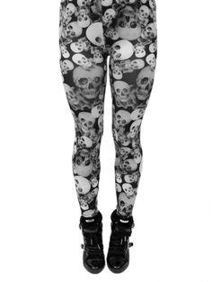 """Women's """"Skull Collage"""" Leggings (Black/White)"""