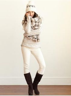 Like the idea of wearing white in the winter. So snuggly looking