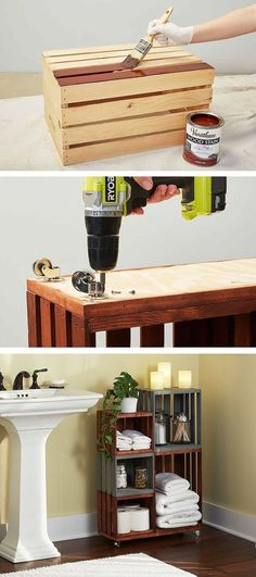 DIY Bathroom Storage Shelves Made From Wooden Crates Turn ordinary wooden crates. - Home Decoration Home Projects, Home Crafts, Diy Home Decor, Pallet Projects, Craft Projects, Diy Crafts, Decor Crafts, Woodworking Projects, Bathroom Storage Shelves