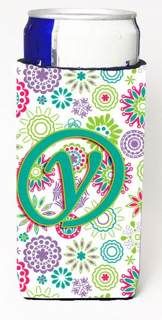 Letter Y Flowers Pink Teal Green Initial Ultra Beverage Insulators for slim cans CJ2011-YMUK