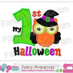 My 1st Halloween,Halloween witch applique, Halloween,Owl applique,Witch applique,Witch design, Babys applique,Machine Embroidery-03