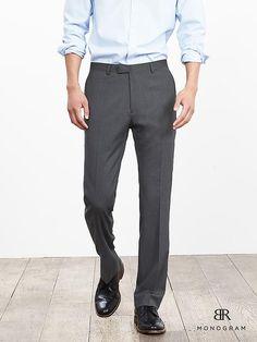 BR Monogram Gray Micro-Stripe Italian Wool Blend Suit Pant