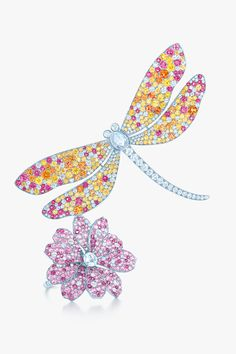 Tiffany and Co. Dragonfly Brooch/Pendant and Flower Ring in Platinum set Pink, White and Yellow Diamonds and Precious Gemstones -ShazB