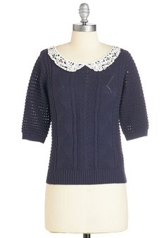 Keepin' Knit Real Sweater. Stay true to your classically cute ways in this navy-blue sweater. #blue #modcloth