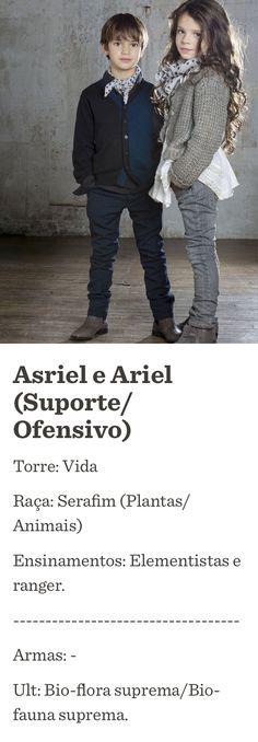 Asriel e Ariel  (Suporte/Ofensivo) Torre: Vida Raça: Serafim (Plantas/Animais) Ensinamentos: Elementistas e ranger. ----------------------------------- Armas: - Ult: Bio-flora suprema/Bio-fauna suprema.  Made with Paper / fiftythree.com