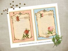 Cottage Chic Journaling pages or scrapbooking sheets  (393AOWD) printable pages…