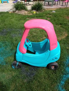Repainted Little Tykes Cozy Coupe.
