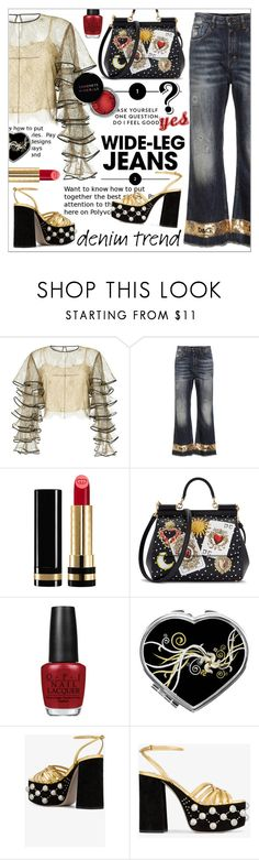 """Flare Up *  Wide-Leg Jeans"" by calamity-jane-always ❤ liked on Polyvore featuring HUISHAN ZHANG, Dolce&Gabbana, Gucci, OPI, Concrete Minerals, Miu Miu, Hush, miumiu, dolcegabbana and fashionset"