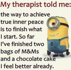 Finish what I start... sweets... finish them yummmmm XD #humor #minions #funny ... check out more minion pins https://www.pinterest.com/carolinewoods33/minionmadness/