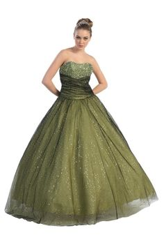 Puffy Ball Gown Strapless Long/Floor-length Natural Prom Dress PD112A